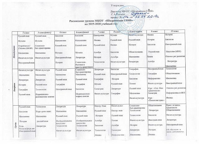 расписание 5-11 классы